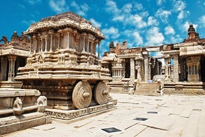 ancient ruins of stone chariot in hampi india